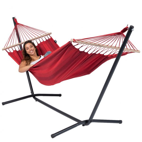 Easy & Relax Red Single Hammock with Stand