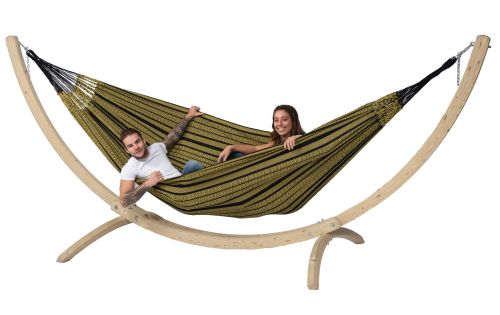 Wood & Black Edition Gold XXL Hammock with Stand