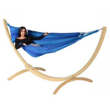Wood & Dream Blue Single Hammock with Stand