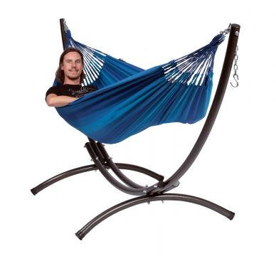 Arc & Dream Blue Single Hammock with Stand