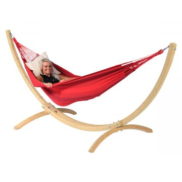 Wood & Dream Red Single Hammock with Stand