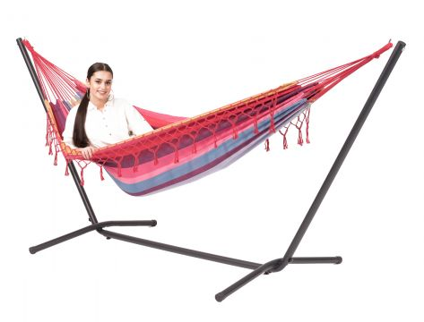 Easy & Grenada Raspberry Single Hammock with Stand