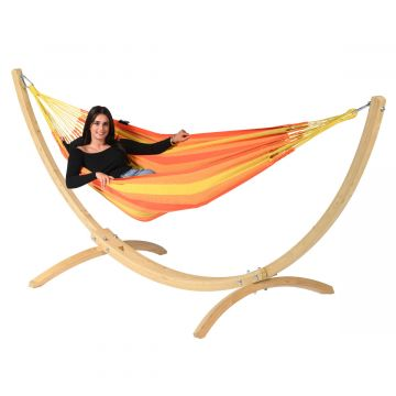 Wood & Dream Orange Single Hammock with Stand