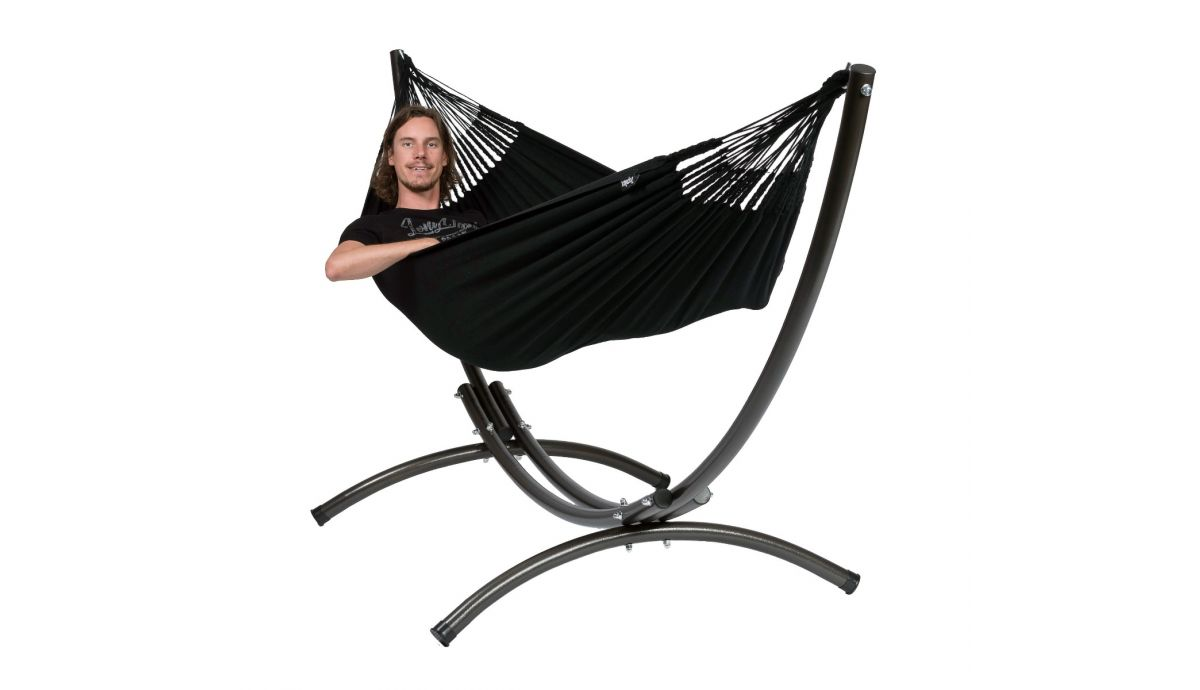 'Arc & Classic' Black Single Hammock with Stand