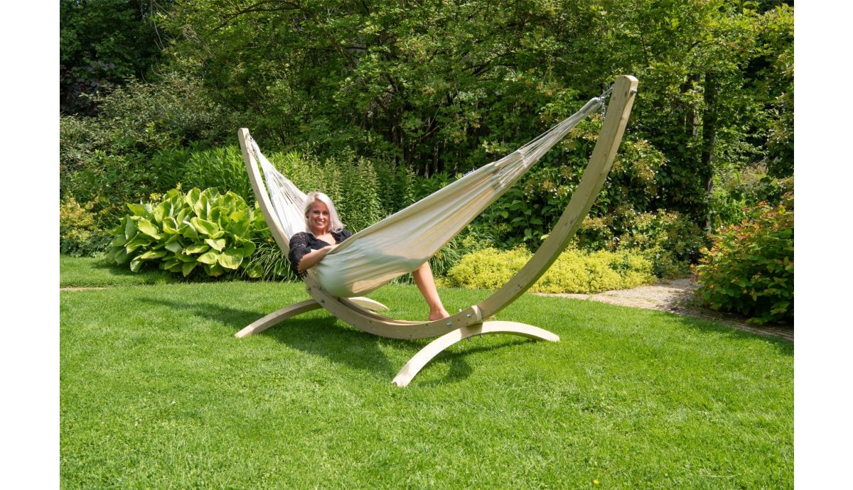 Wood Comfort White Double Hammock With Stand