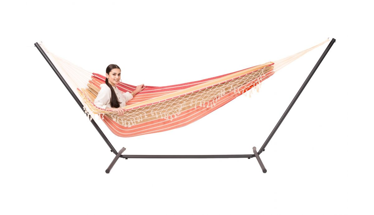 'Easy & Tortuga' Earth Double Hammock with Stand