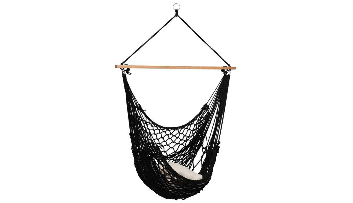 Single Hanging Chair Rope Black Hammock Heaven