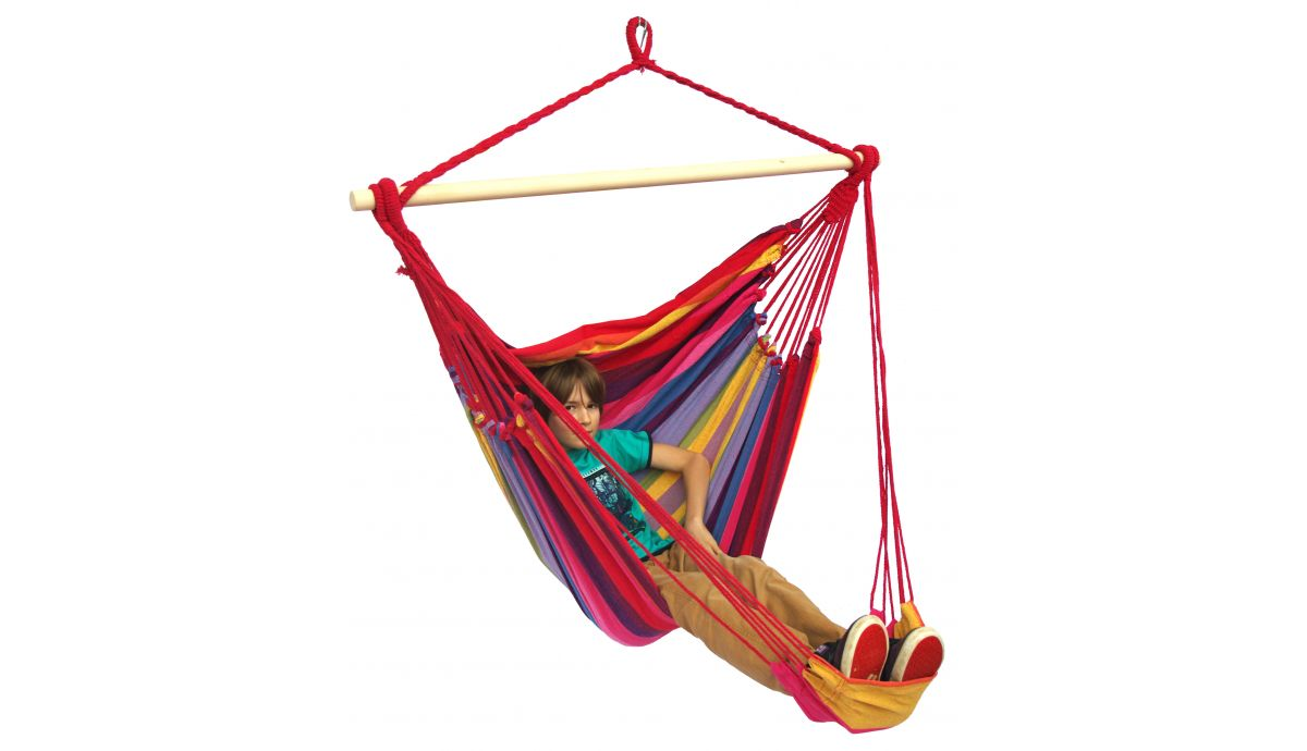 'Tropical' Raspberry Lounge Single Hanging Chair