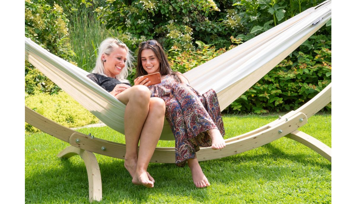 'Wood & Comfort' White Double Hammock with Stand
