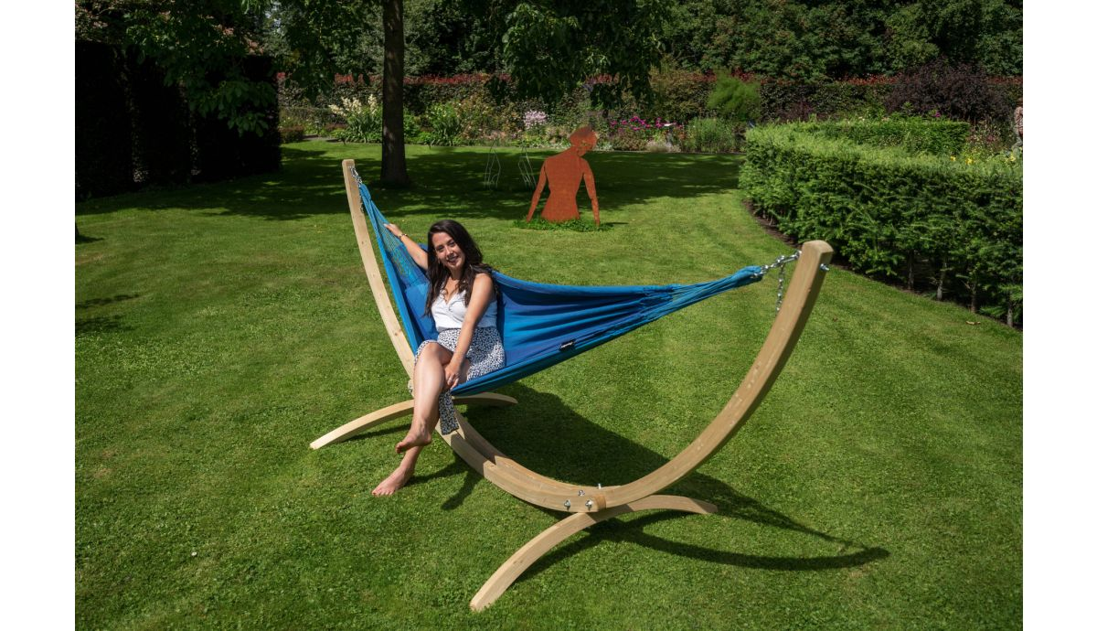 'Wood & Dream' Blue Single Hammock with Stand