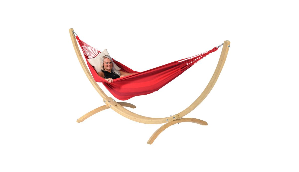 'Wood & Dream' Red Single Hammock with Stand