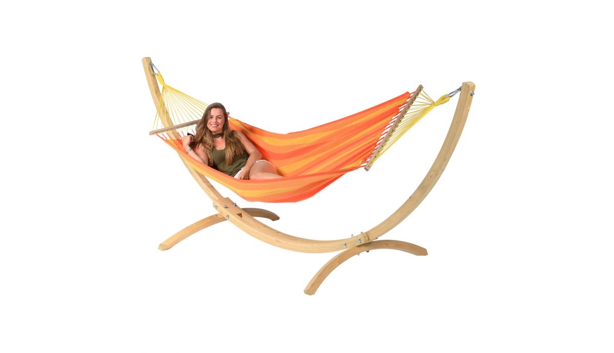 'Wood & Relax' Orange Single Hammock with Stand