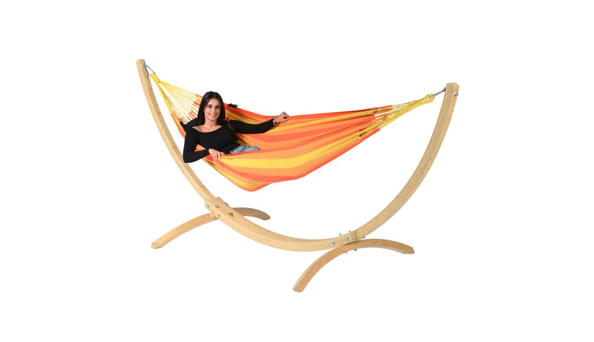 'Wood & Dream' Orange Single Hammock with Stand